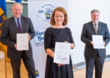 Präsentierten die Ergebnisse der Studie (v.l.): Landesrat Martin Eichtinger, Landesrätin Christiane Teschl-Hofmeister und Univ. Prof. Franz Kolland