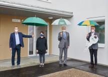 Bürgermeister Thomas Buder, Denise Geiger, Landesrat Martin Eichtinger und Direktor Walter Mayr (v.l.n.r.)