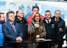 Landeshauptfrau Johanna Mikl-Leitner bei der gemeinsamen Pressekonferenz mit Bürgermeister Michael Ludwig und den Vertreterinnen und Vertretern der Blaulicht- und Einsatzorganisationen.